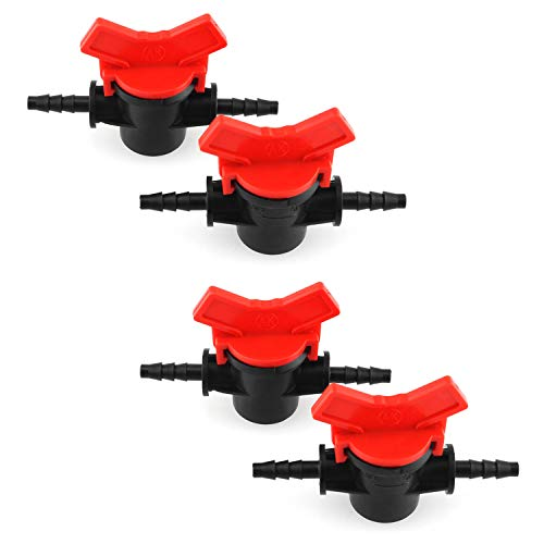 DGZZI Barbed Ball Valve 4PCS 1/4-Inch ID in-Line Ball Valves Shut-Off Switch Hose Barb Connectors for Drip Irrigation and Aquariums