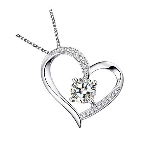 Collares de corazón con circonita cúbica 5a para mujer, chapado en oro blanco de 18 quilates, plata blanca
