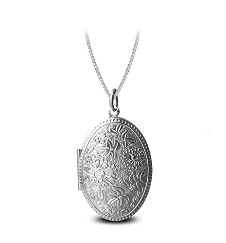 AmDxD Foto Amulett zum öffnen mit Kette Blume Oval Damen Herren Hlaksette mit Anhänger Silber