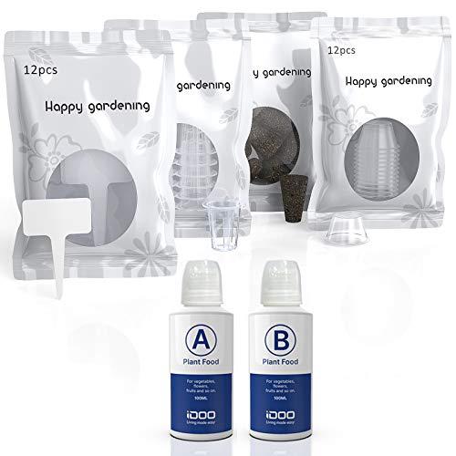 iDOO Set de Vainas Semilleras Recambio para el Kit de Jardinería Hidropónica de Interior, Modelo ID-IG301, Incluye 12 esponjas de Crecimiento, Kit de 12 Cestas, 12 Etiquetas, Nutrientes Sólidos A&B