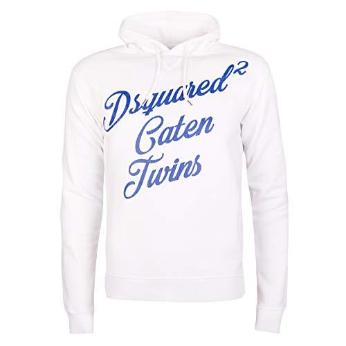 DSQUARED2 S71GU0170 Herren Men Kapuzenpullover Hoodie Sweat Weiß Made in Italy (XL)