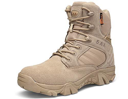 SINOES Botas Militares de Hombres Adulto,Hombre Ronda Toe Zapatos de Cuero Botas Planas Encaje Ankle Botas Zapatos de Ocio