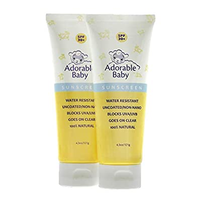Adorable Baby All Natural Sunscreen SPF 30+ Non-Nano Zinc Oxide UVA/UVB 4.3oz By Loving Naturals (2 Pack)