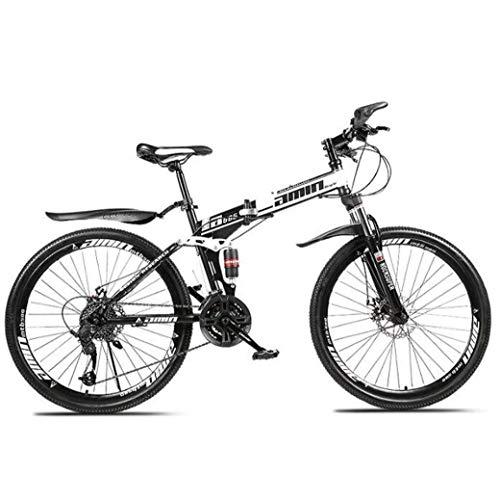 TANGIST Mountain Bike Folding Bikes, 26' 30Speed Double Disc Brake Full Suspension Antislip, Lightweight Aluminum Frame, Suspension Fork (Color : White, Size : A)