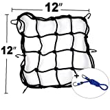 12' x 12' Cargo net, 6 Hooks Bungee-Cord Luggage Cargo Bag Net Strong Stretch Heavy-Duty for Kayak Boat Canoe Moving, Camping, and Trucks- -Free 1pcs Luggage Fixed Strap Rope