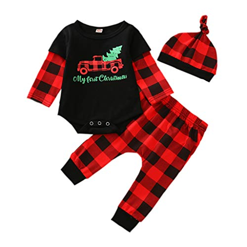 TUEMOS Newborn Baby Boy My First Christmas Day Clothes Letter Print Romper+Plaid Pants+Hat 3PC Outfits