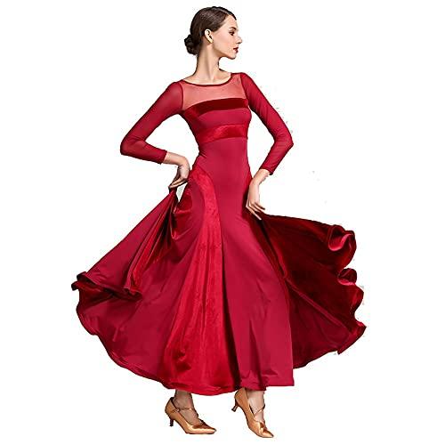 Walzer Tanz Rock Für Frauen Kostüme National Standard Tanzkleid Damen-langarmes Bankettsaal Saladin Moderner Tanzkleid Tanzteilkleid (Farbe : Red, Size : M)