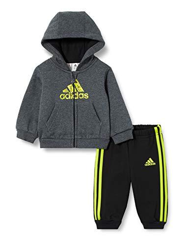 adidas I Logo FZ HD FL, Tuta Unisex Bimbi, Top:Dark Grey Heather/Semi Solar Slime Bottom:Black/Semi Solar Slime, 2-3Y