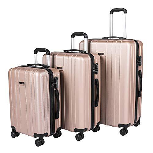 CarryOne Valigie Set Trolley Bagaglio a Mano con 4 Rotelle Girevole, Valigia Rigida da Viaggio Set da 3(55cm, 64cm, 74cm)(oro rosa)