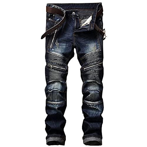 HaBirsZm Pantalones Vaqueros de Moda Tendencia de Moda Simple Copo de Nieve Pliegue Suave y cómodo locomotor Delgado pequeño Pantalones de Estiramiento Recto 01 Azul oscuro36
