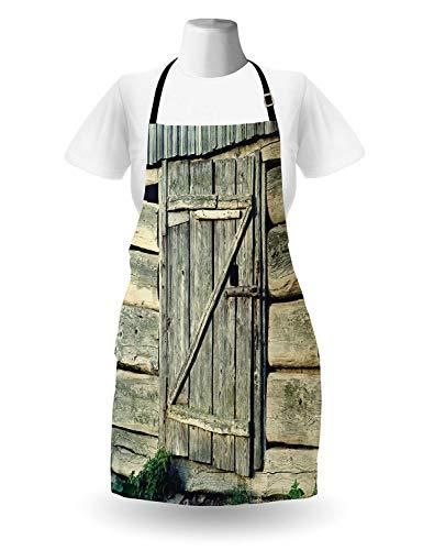 WELQUN Schürze Aprons Scheunentor-Schutzblech-Rustikale Holztür Eines Alten Ackerland-Hauses Mit Vorhängeschloss-Landschafts-Küchen-Zubehör Für Das Kochen des Backens