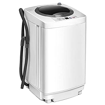 COSTWAY 2 in 1 Portable Washing Machine - 6 Modes, Adjustable Water Level, Fully Automatic Compact Washer Spin Dryer with Drain Pump, for Apartment, Hotel, Dorm (White)