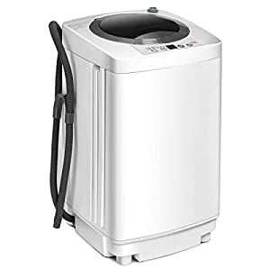 COSTWAY 2 in 1 Portable Washing Machine – 6 Modes, Adjustable Water Level, Fully Automatic Compact Washer Spin Dryer with Drain Pump, for Apartment, Hotel, Dorm (White)