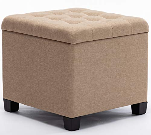 HNNHOME Sitzhocker mit Stauraum, Sitzwürfel mit Deckel, Sitztruhe, Fußbank Truhen Aufbewahrungsbox, Leinen, 44 L, 45 x 41 x 41 cm, Beige