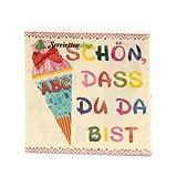 20 Servietten Schulanfang Schön, DASS du da bist beige/rosa für die Einschulung für Mädchen 33x33cm - 3