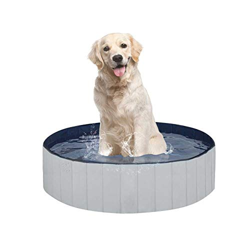 "Juegoal Foldable Baby Dog Pet Bath Swimming Pool, Hard Plastic Kiddie Collapsible Dog Pet Pool Bathing Tub, Portable Pet Bath Tub Pool for Indoor & Outdoor Kids Pets Dogs Cats, 32"" x 8"""