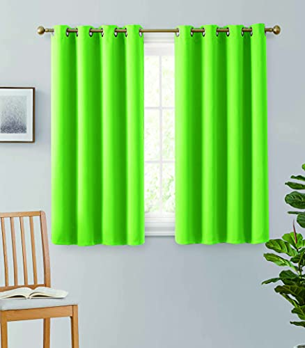 """2pc Grommet Thermal Insulated Room Darkening Bedroom and Living Room Curtain Window Treatment Blackout Curtains Energy Saving Panel -Lime Green 54"""""""