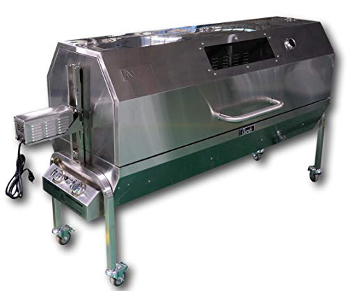 "Charotis 52"" Propane/Charcoal 50W Motor,100% Stainless Steel BBQ rotisserie for Whole Pig, Lamb, Goat - Model SSGC1"