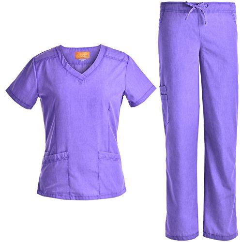 Nursing Scrubs Set Slim Uniforms - V Neck Women Scrubs Jeanish JS1602 (EPG, XL)