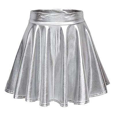 Urban CoCo Women's Shiny Flared Pleated Mini Skater Skirt (S, Silver)