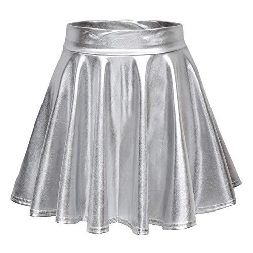 Urban CoCo Women's Shiny Flared Pleated Mini Skater Skirt (S, Silver)