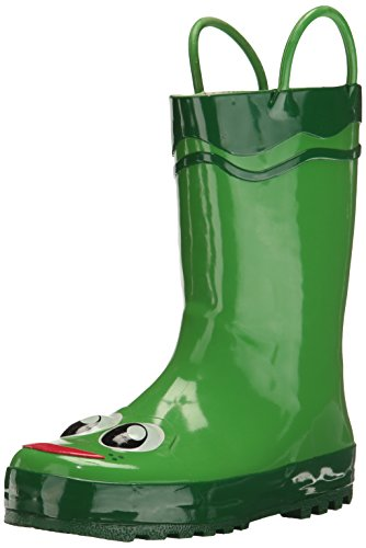 Western Chief Boys Waterproof Printed Rain Boot with Easy Pull On Handles, Fritz The Frog, 9 M US Toddler