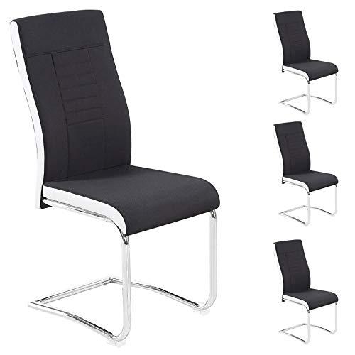 CARO-Möbel 4er Set Esszimmerstuhl ALBA Küchenstuhl Schwingstuhl, Stoffbezug in schwarz und weiß, Metallgestell in Chrom