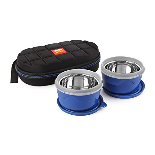 Cello Max Fresh Micro Insulated Lunch Box with Stainless Steel Inner, 2 Pieces, Blue