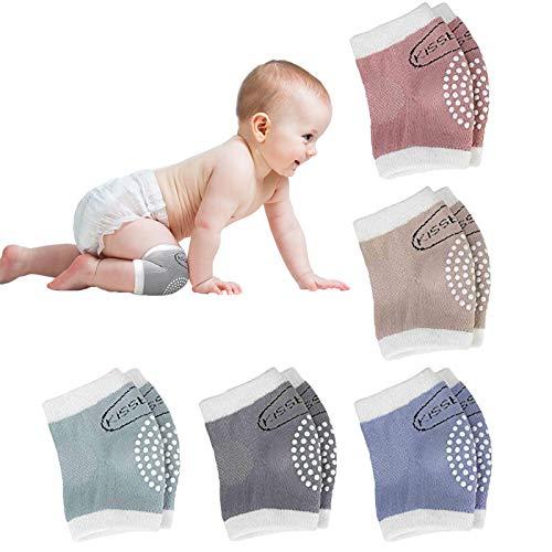 Simoda 5 Paare Knieschoner Baby Krabbeln Anti-Rutsch Baumwolle Beinlinge,Baby Knieschoner Set mit Gummipunkten schützen vor hartem Boden und Kälte (#1)