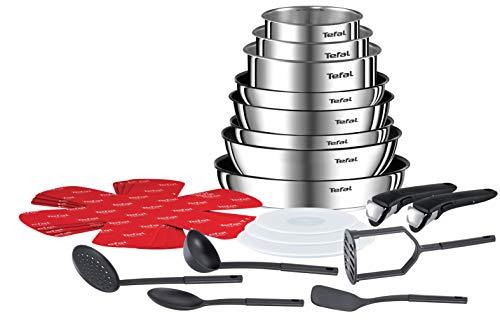 Tefal Ingenio Emotion Batterie Cuisine 22 Pièces, Casseroles, Couvercle Hermétiques,Sauteuse, Wok, 5 Spatules Bienvenue, 4 Protège-poêles,2 Poignées, InductionL925SM14, INOX