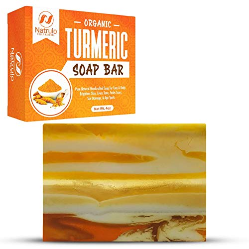 Organic Turmeric Soap Bar   Pure Natural Handcrafted Skincare, Made in USA Face & Body Cleanser with Calendula, Aloe Vera, French Clay   Brightens Skin, Evens Tone, Fades Scars, Sun Damage, Age Spots