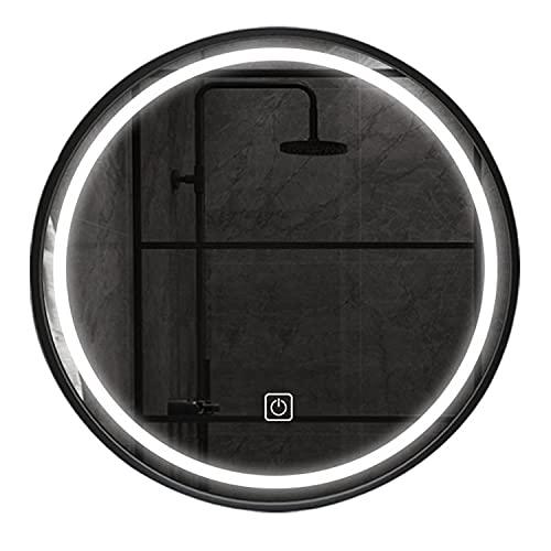 GETZ Espejo Baño Marco de Metal, Ronda Moderna Espejo Baño LED Iluminado, Iluminada Espejo de Tocador