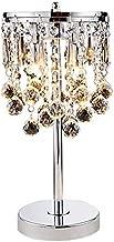 Hsyile KU300144 Elegant Modern Chrome Crystal Chandelier For Bedroom Nightstand Table Lamp