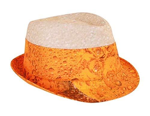 shoperama Trilby Hut mit Bier Druck Erwachsene Mütze Karneval Verkleidung Party lustig JGA Junggesellenabschied