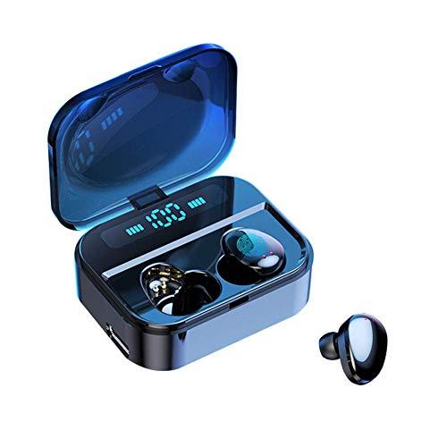 GlobalCrown Echt Draadloze oordopjes met geüpgraded LED oplaaddoos voor digitale display, Bluetooth 5.0 koptelefoon Draadloos met aanraakbediening koptelefoon met microfoon voor sportief hardlopen