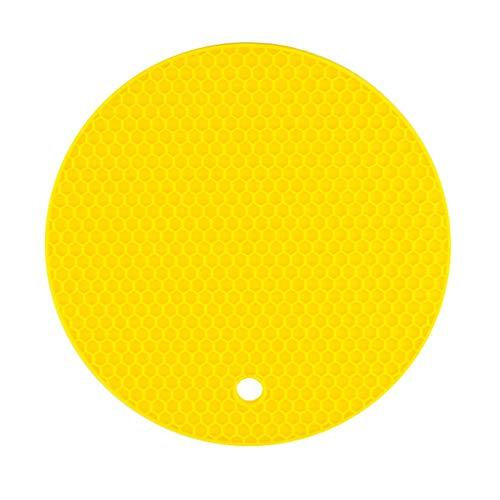 Fliyeong - Alfombrilla de silicona para horno y horno con aislamiento térmico antiadherente, color amarillo redondo, creativo y útil