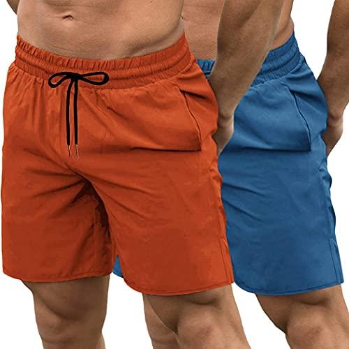 JINIDU Paquete de 2 Pantalones Cortos de Entrenamiento de Gimnasio para Hombres, Pantalones de Levantamiento de Pesas de Culturismo de Secado rápido, Pantalones de Entrenamiento con Bolsillos