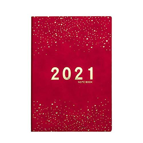 STOBOK 2021 Calendario Cuaderno de Cuero PU Cubierta de Diario Steno Memo Notepads Diario Libro Planificador Semanal Regalo para Niños Estudiantes Oficina Escuela Roja
