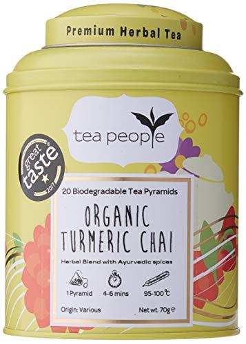 Tea People Organic Turmeric Chai, 20 Pyramids Caddy