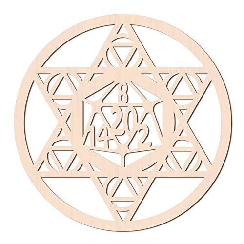 GLOBLELAND 31CM Estrella de David Arte de Pared de Madera Dados Símbolo Geometría Sagrada Decoración del Hogar, Escultura de Pared de Madera Cortada con Láser para Decoración del Hogar