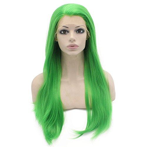 Mxangel Long Straight Green Wig Heat Friendly Fiber Lace Front Wig Cosplay