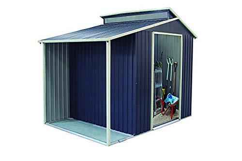 Gardiun KIS12989 Gartenhaus Marlow mit Veranda 6,85 m², außen 193 cm x 35 cm x 237 cm, verzinkter Stahl, Anthrazit