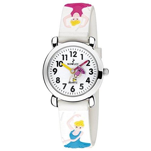 Reloj nowley infantil niña caja de acero pulsera de caucho