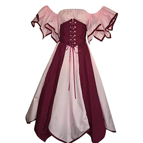 Han Shi Womens Vintage Short Petal Sleeve Off Shoulder Medieval Dress Irregular Hem Elf Cosplay Party Costume (Pink, L)