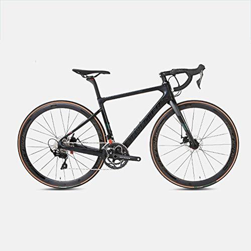 Yinhai Rennräder, 22-Gang-20-Zoll-Fahrräder, Carbonrahmen, Straßenradrennen, Doppelrad-Doppelbremsräder Mit Rädern,Black 51cm