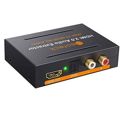 Neoteck HDMI 2.0 Audio Extractor Supporta 4K/60Hz YUV 4:4:4 HDR HDMI 2.0 Audio Splitter HDMI Digitale a HDMI + Ottico SPDIF Toslink+Stereo L/R RAC Convertitore Audio Supporta 5.1CH e Funzione HDR