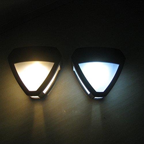 LEDMOMO Lámpara de pared solar, triángulo en forma de corazón Lámpara de pared Lámpara de inducción en el cuerpo Luz exterior para terraza de jardín, patio, patio (luz blanca)