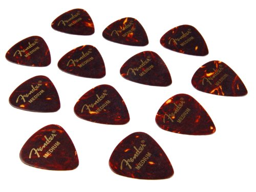Fender 351 Picks Plectrum 12er Pack (Wurzelholz Design, Stärke Medium)