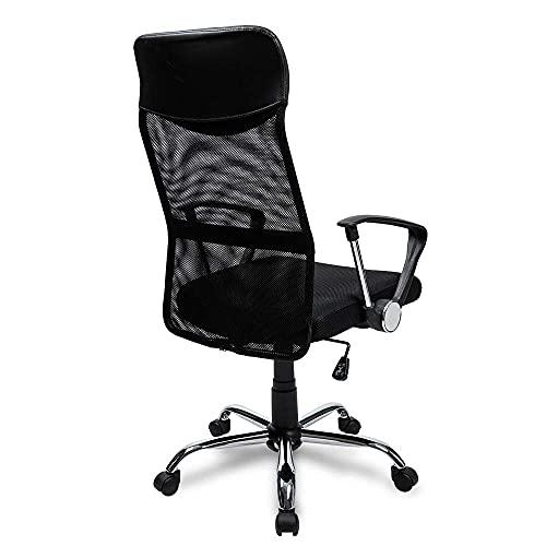 Lazyspace Merax Bürostuhl Schreibtischstuhl Bürodrehstuhl Ergonomischer Design Chefsessel mit Kopfstütze, Netzrücken/Wippfunktion/Feste Armlehne/Höhenverstellbar