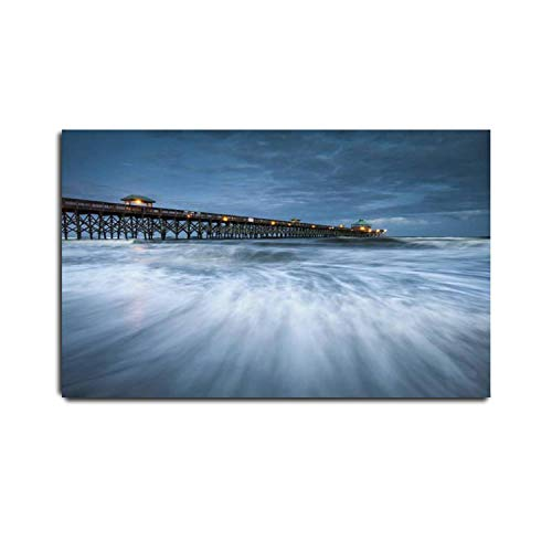 VIUBGCPS Canvas Print Pictures Wall Art Painting Moonlight Folly Beach Pier Charleston SC East Coast Atlantic Ocean Framed & Stretched Posters Ready to Hang Home Decor Artworks - 20x32inch